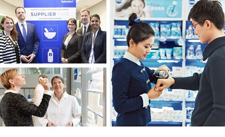 Foto Collage: Beiersdorf Supplier Fair, Kundenberaturn NIVEA Haus, Produktest in der Forschungsabteilung
